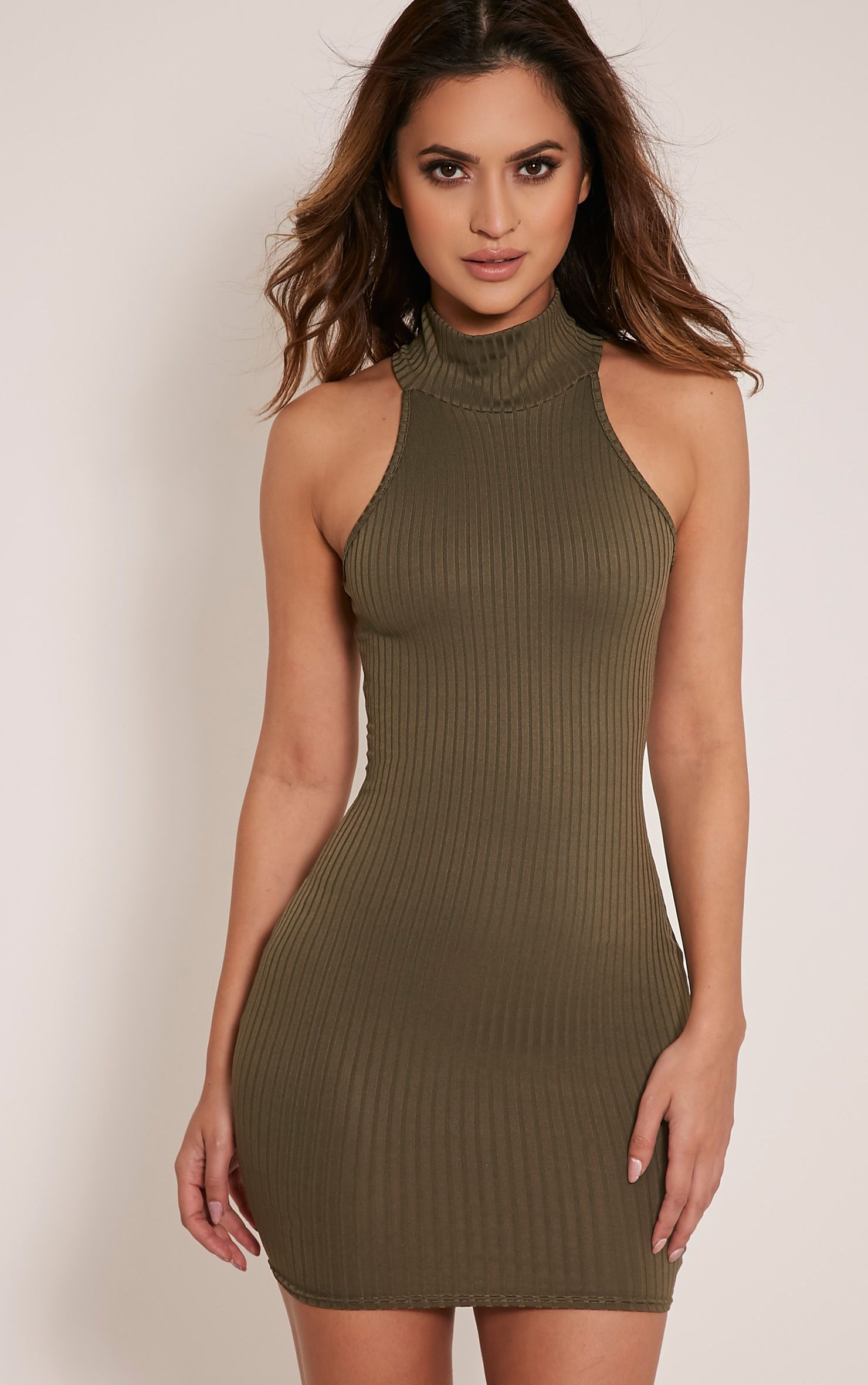 Pearla Khaki Racer Neck Ribbed Bodycon Dress 1
