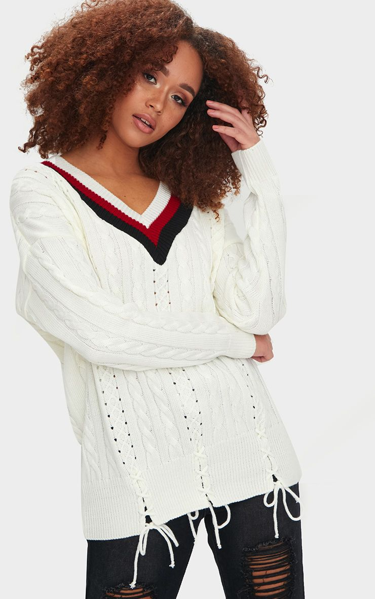 Cream V Neck Lace Up Tipped Jumper