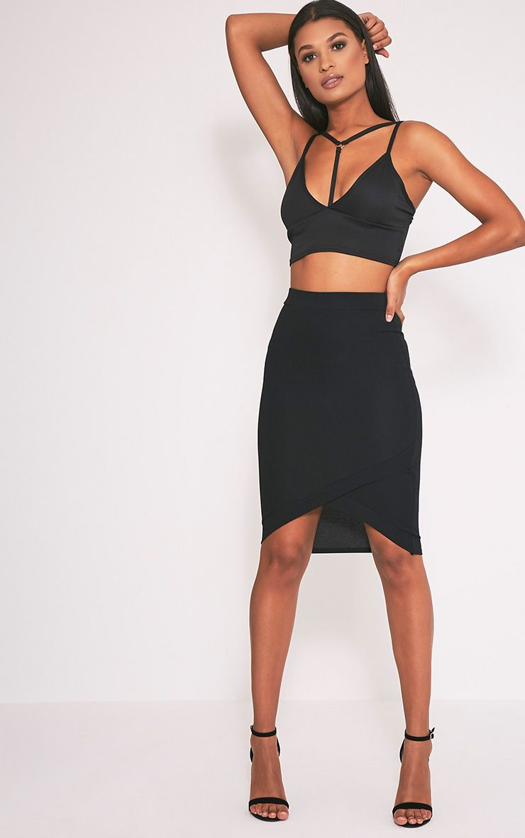 Gabriella Black Wrap Hem Midi Skirt