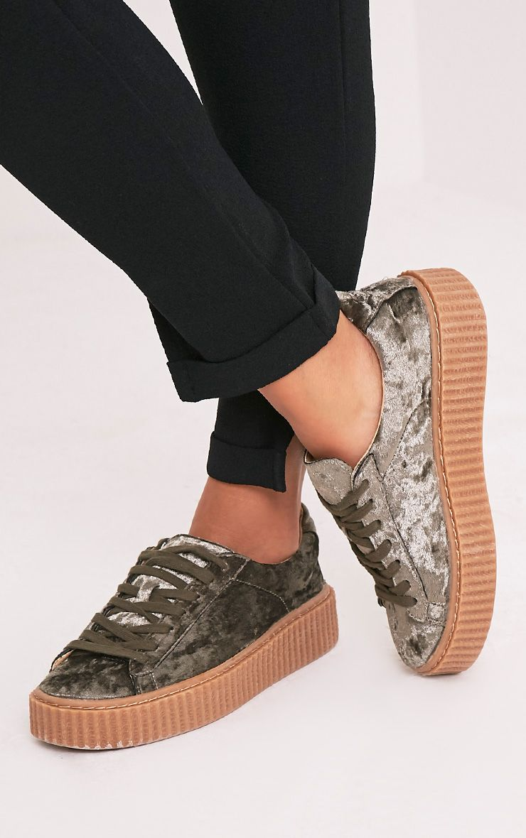 Anahita Khaki Crushed Velvet Creeper Trainers 1