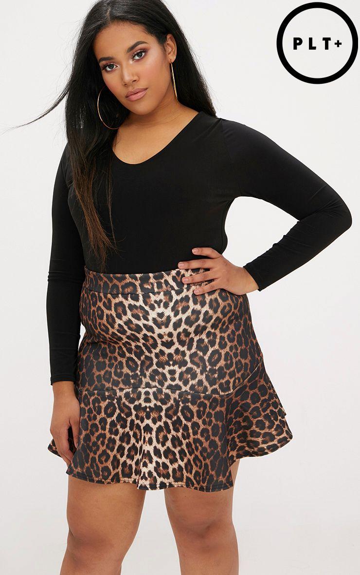 Plus Leopard Flippy Hem Skirt