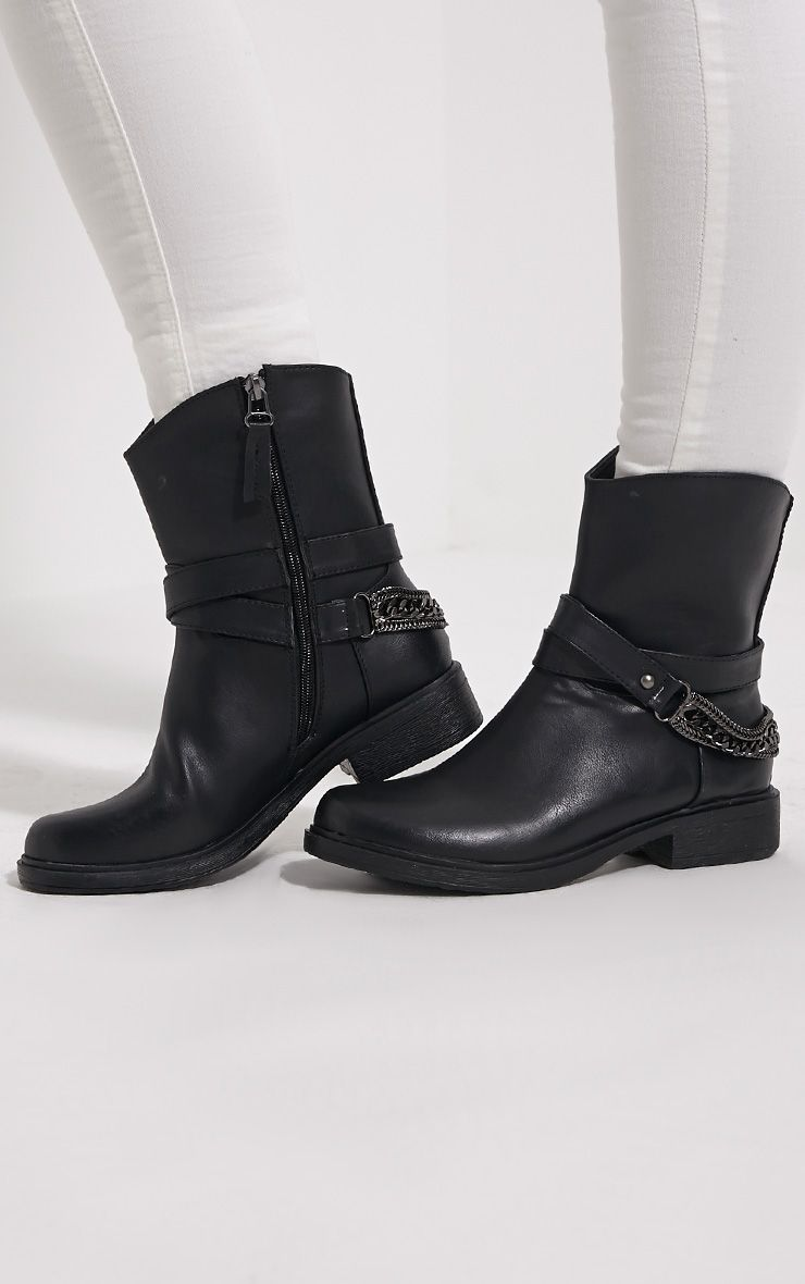Caris Black Metal Chain Heel Boots 1