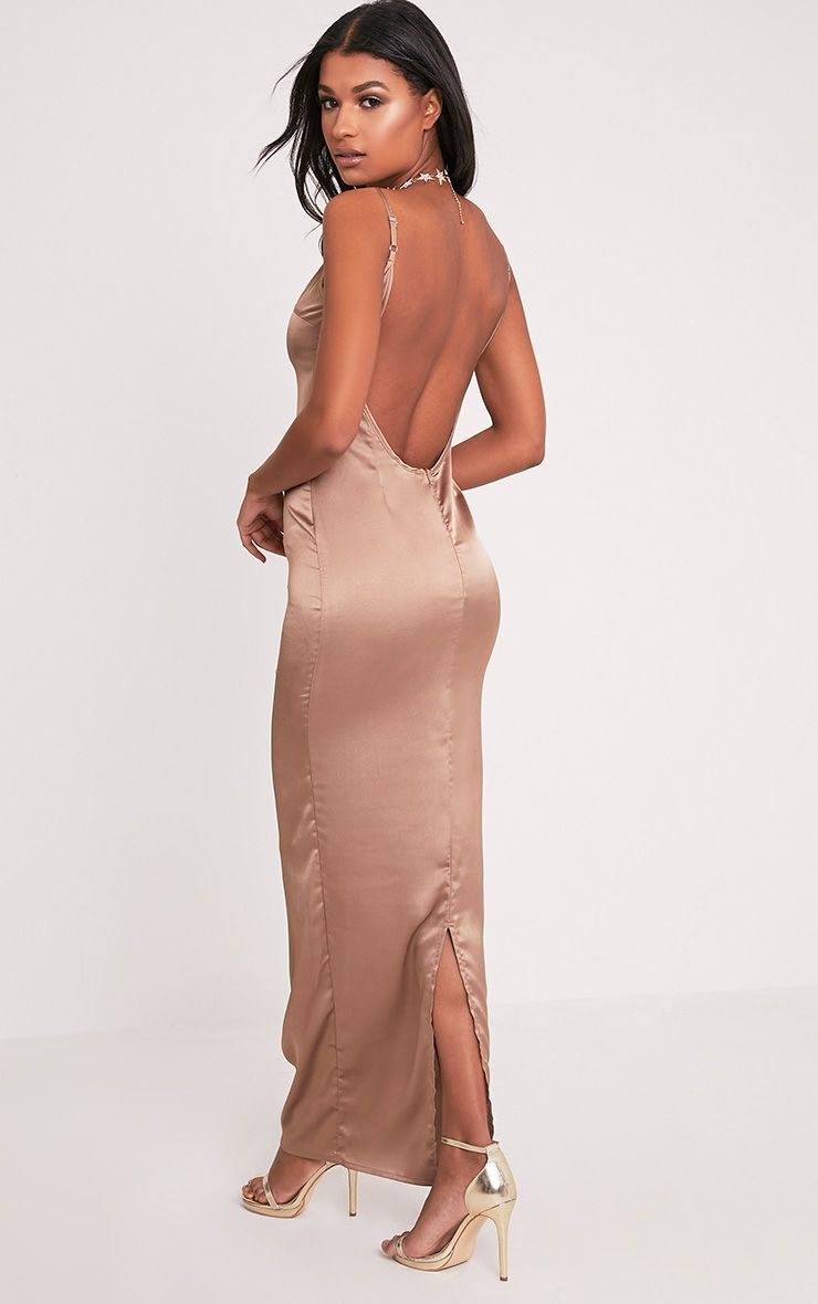 Tinala Taupe Silky Low Back Maxi Dress