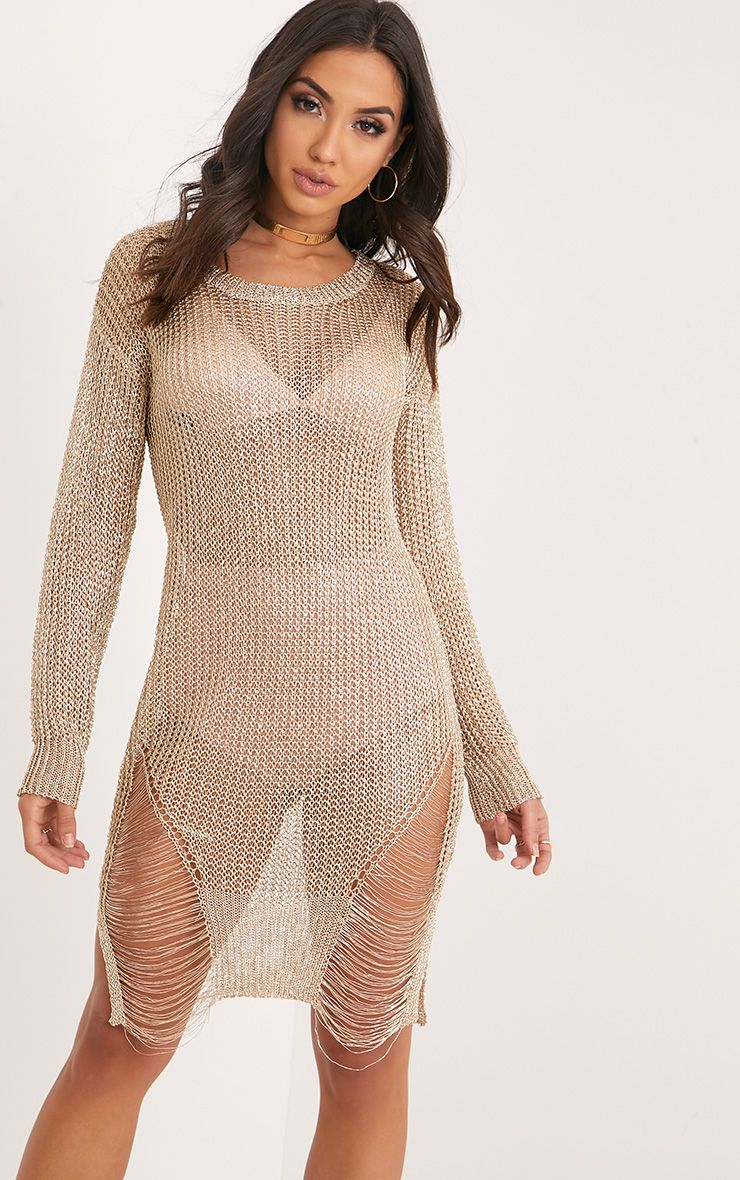 Yulissa Gold Metallic Knit Cobweb Distress Dress