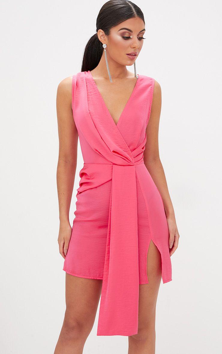 Coral Drape Front Thigh Split Satin Bodycon Dress