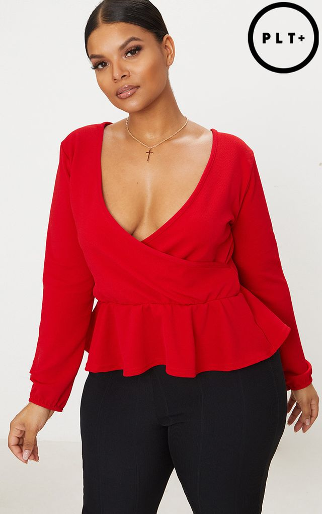 Plus Red Plunge Frill Hem Top