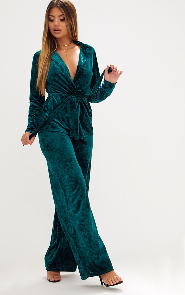 Emerald Green Crushed Velvet Suit Trouser