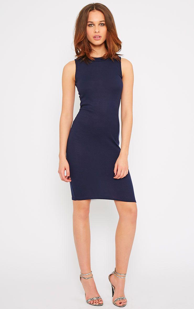Bella Navy Ribbed Sleeveless Dress 1