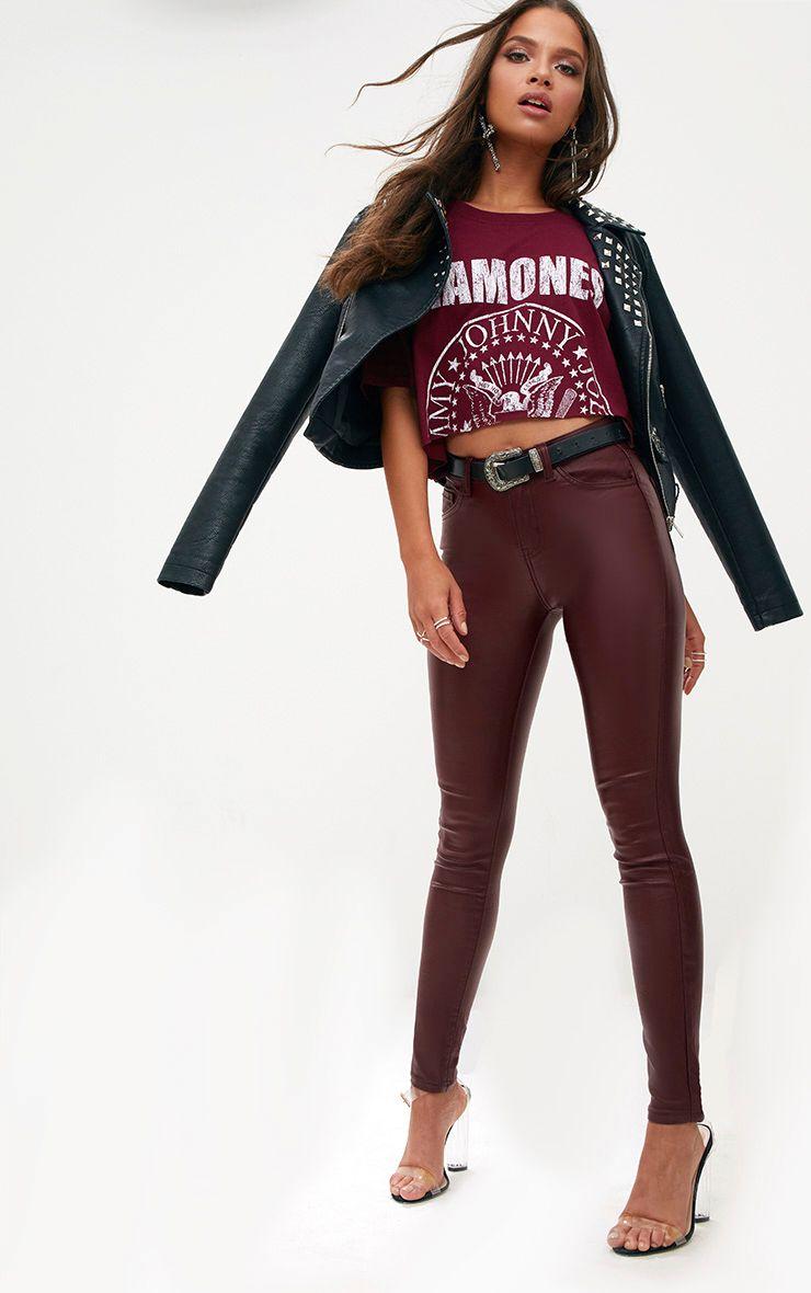 Burgundy Coated Denim 5 Pocket Skinny Jean