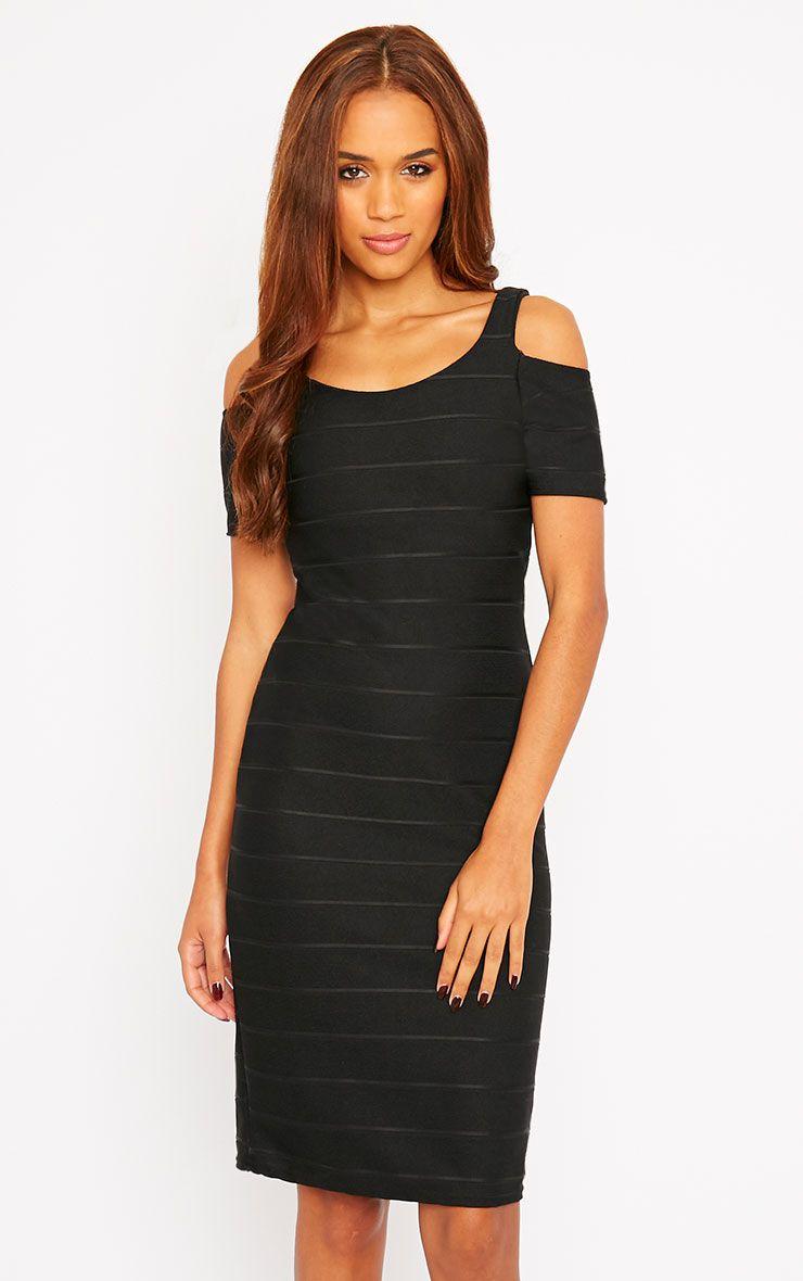 Bea Black Cold Shoulder Bandage Dress 1
