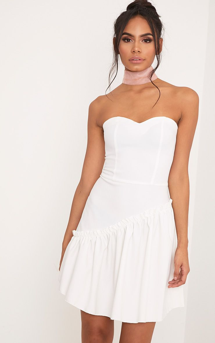 Nikki Cream Strapless Frill Hem Skater Dress