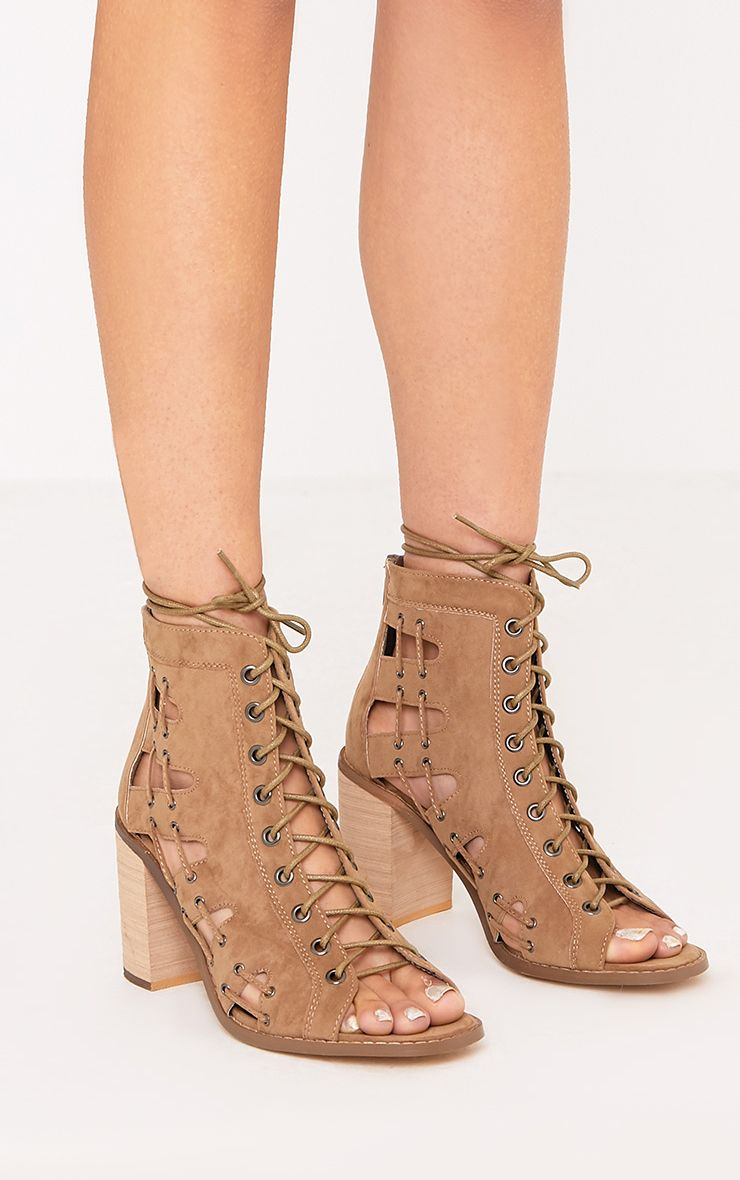 Roisin Taupe Lace Up Peep Toe Ankle Boots