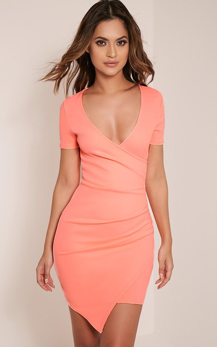 Amarnie Neon Coral Capped Sleeve Crepe Bodycon Dress 1