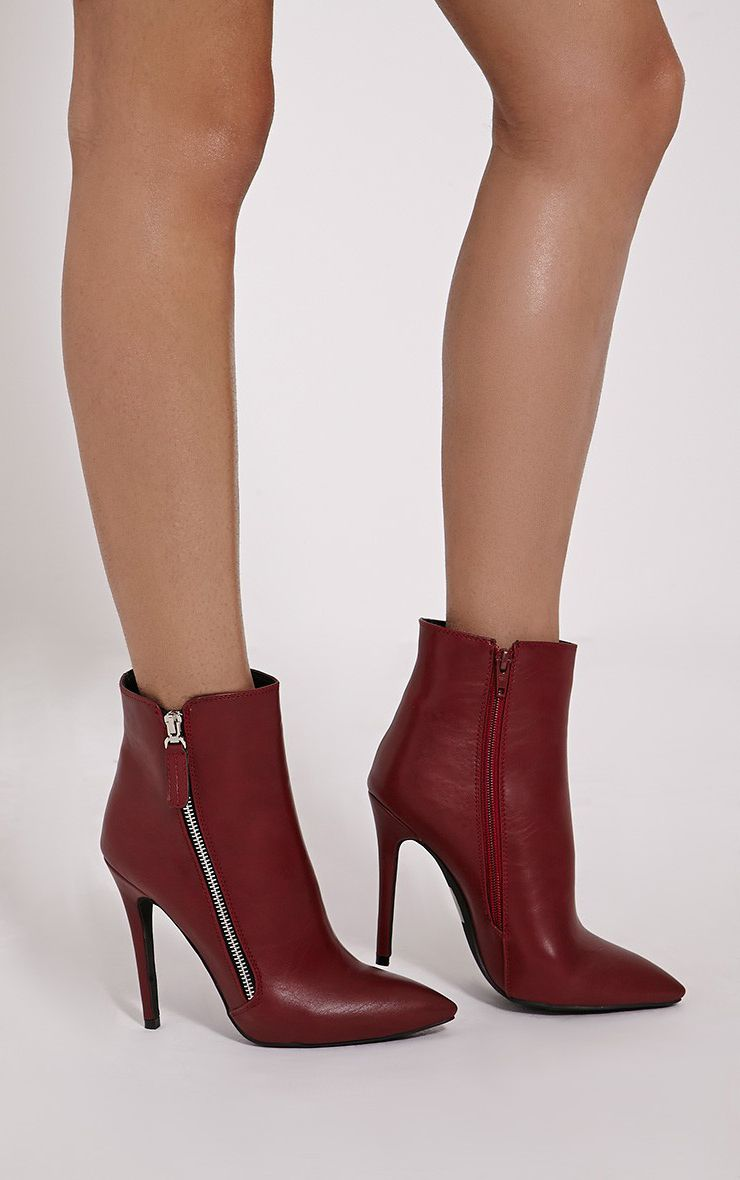 Soreenah Wine Faux Leather Zip Detail Pointed Ankle Boots 1