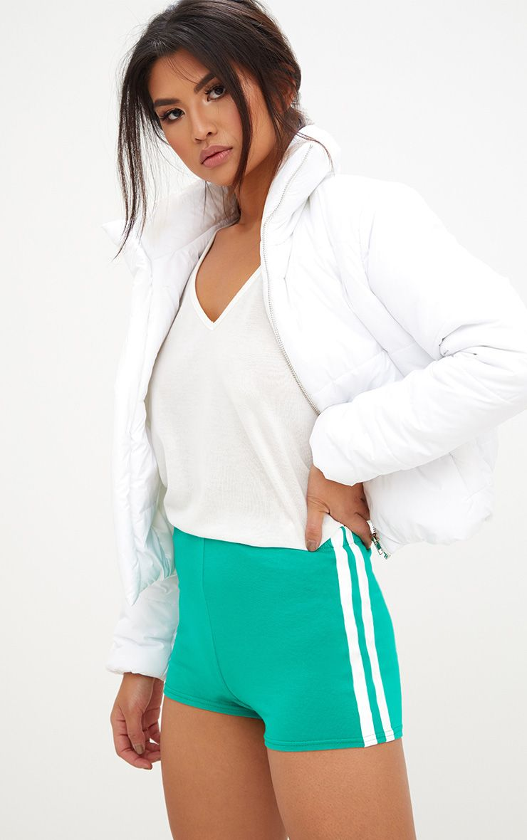 Green Contrast Stripe Track Shorts