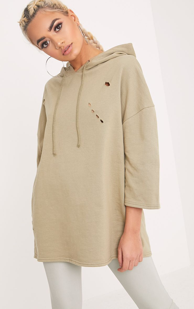 Lotty Pale Khaki Distressed Short Sleeve Hoodie