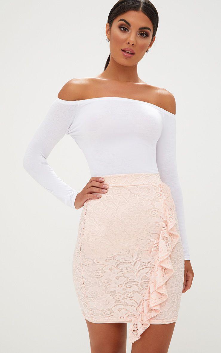 Nude Lace Ruffle Trim Mini Skirt