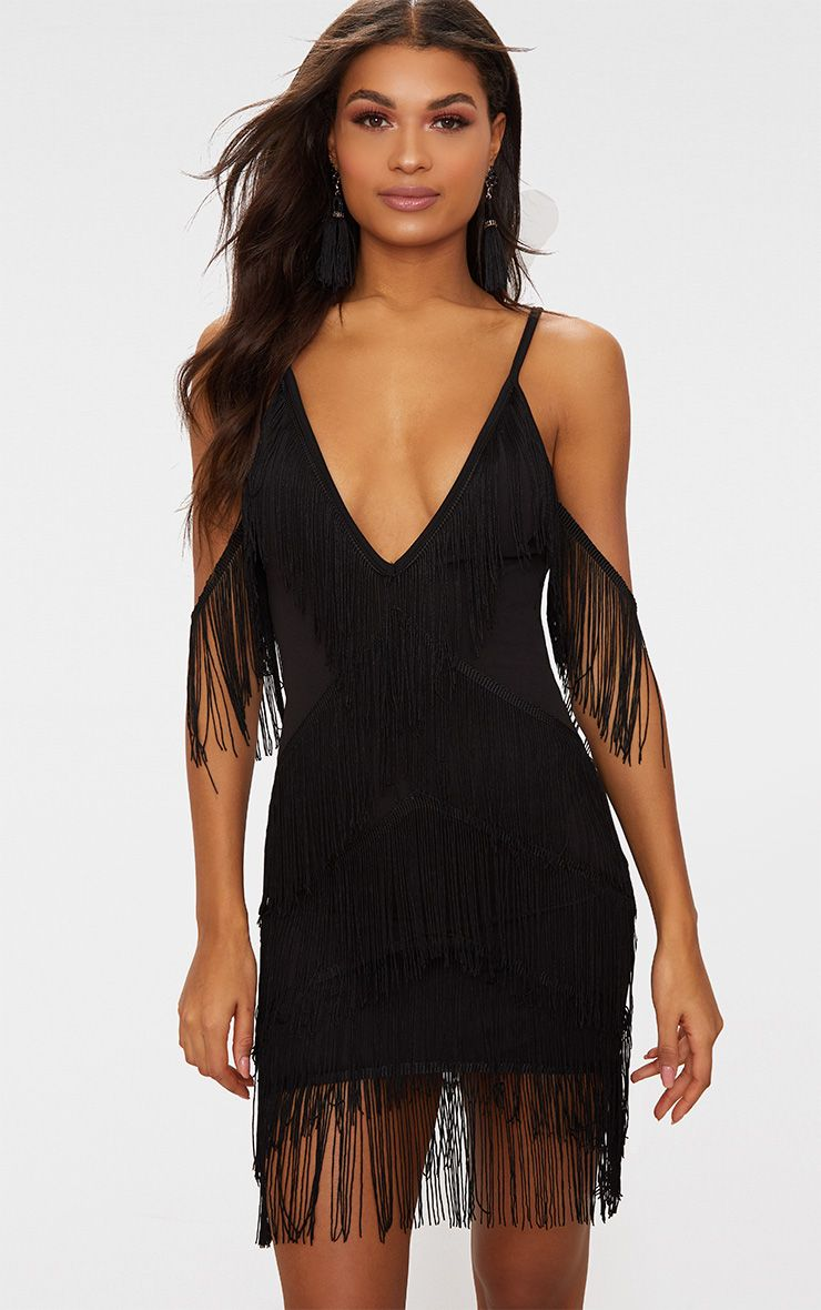 Black Tassel Detail Plunge Bodycon Dress Pretty Little Thing hj9t8