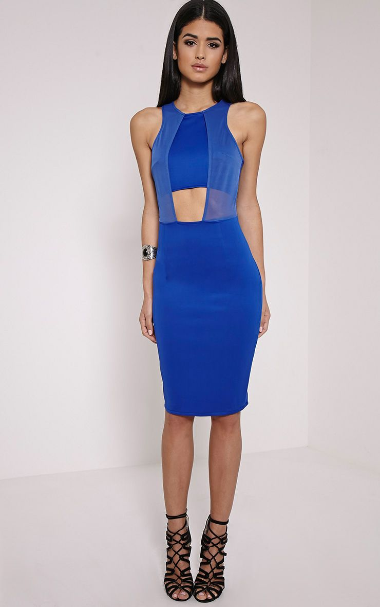 Talli Cobalt Mesh Insert Midi Dress 1