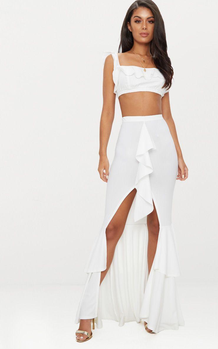 Cream Frill Occasion Skirt