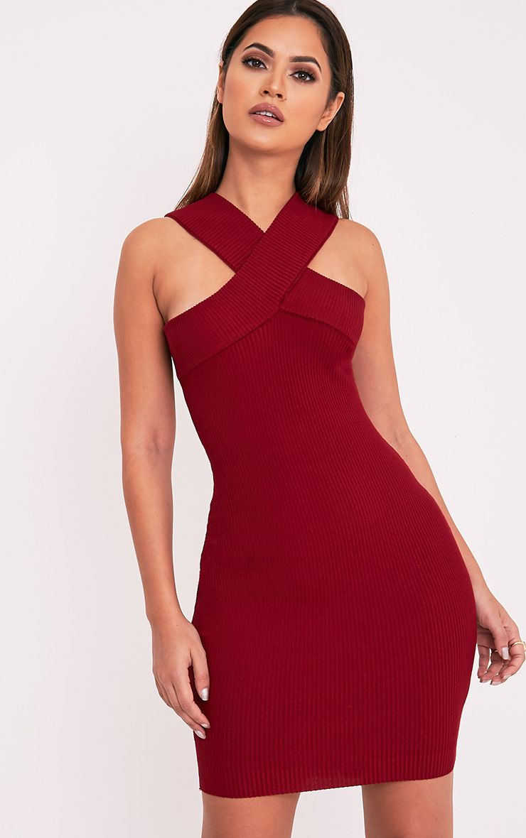 Aramiah Dark Red Ribbed Knit Body Con Mini Dress