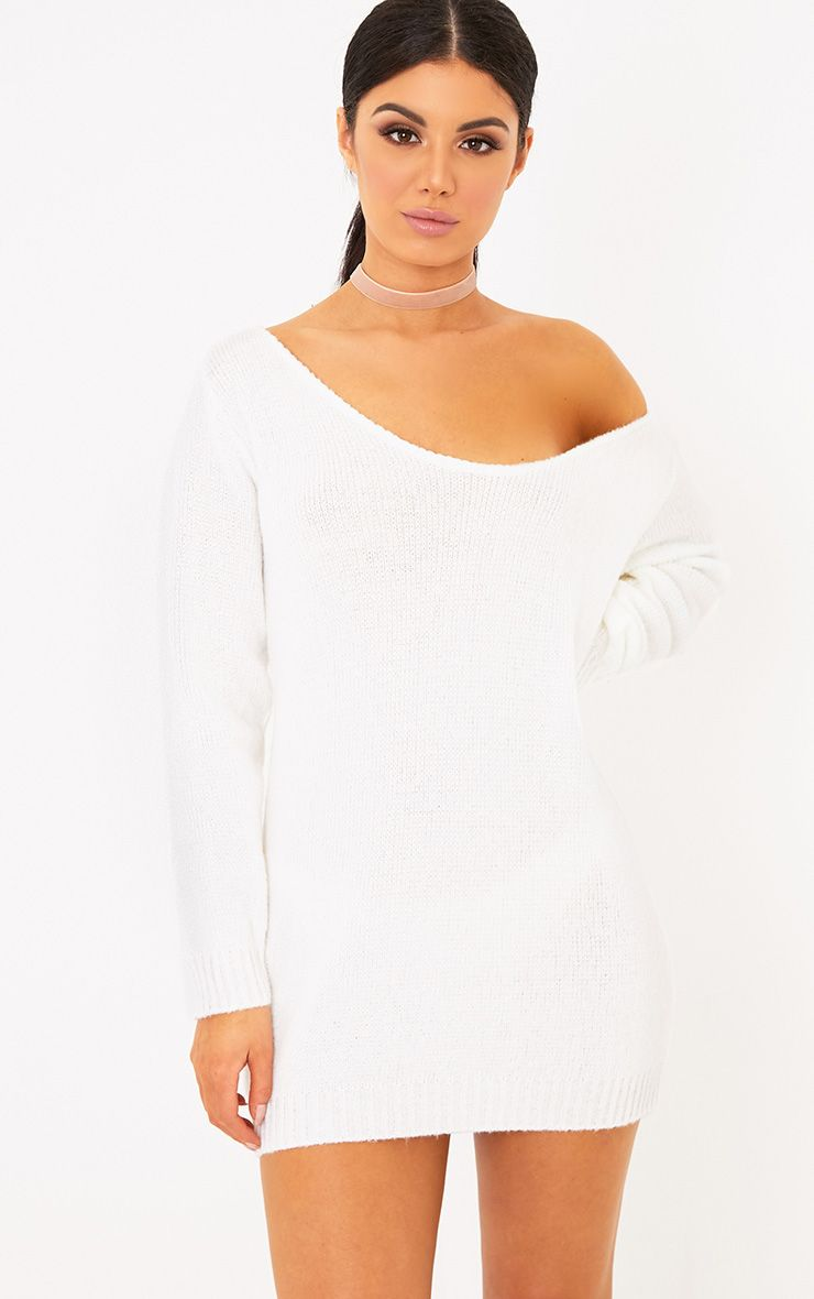 Teylie Cream Soft Knitted Off Shoulder Mini Dress