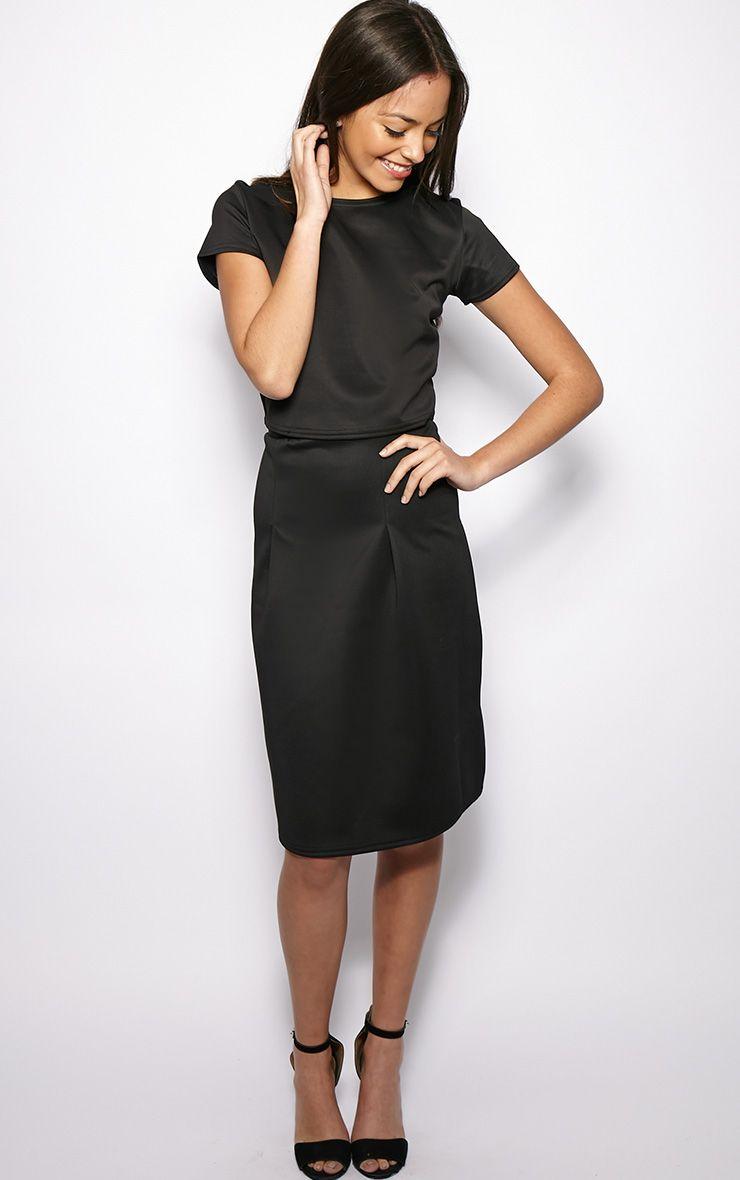 Clarissa Black A Line Midi Skirt 1