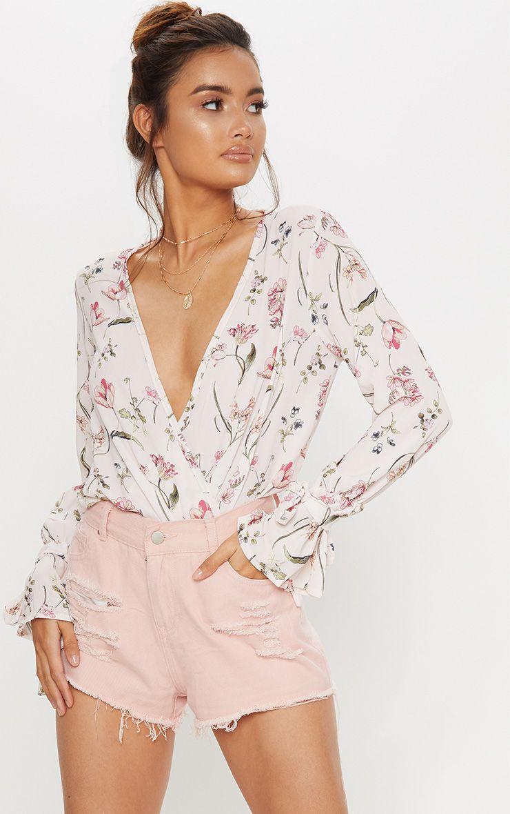 Pink Floral Wrap Front Bodysuit