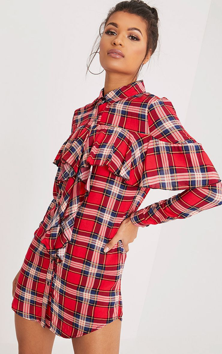 Ritah Red Checked Shirt Dress