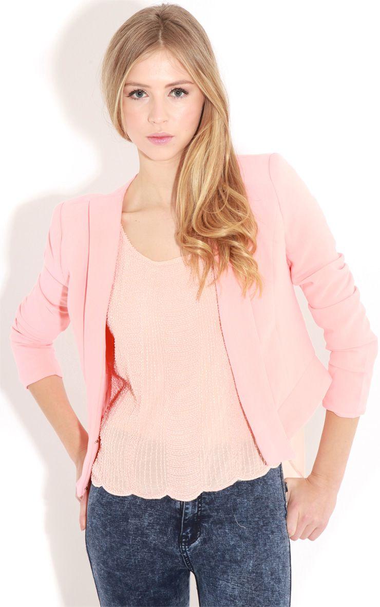 Eadie Coral Cropped Blazer 1