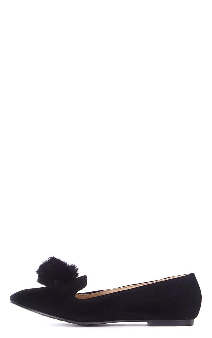 Ireana Black Suede Pom Pom Pumps 1