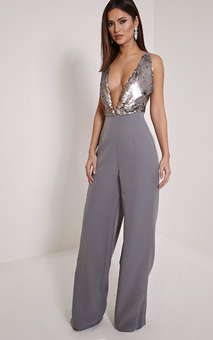 Darcey Silver Sequin Plunge Cross Back Jumpsuit 1