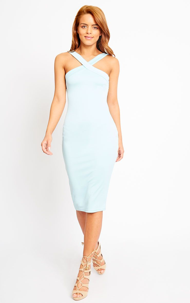 Melanie Powder Blue Cross Front Midi Dress 1