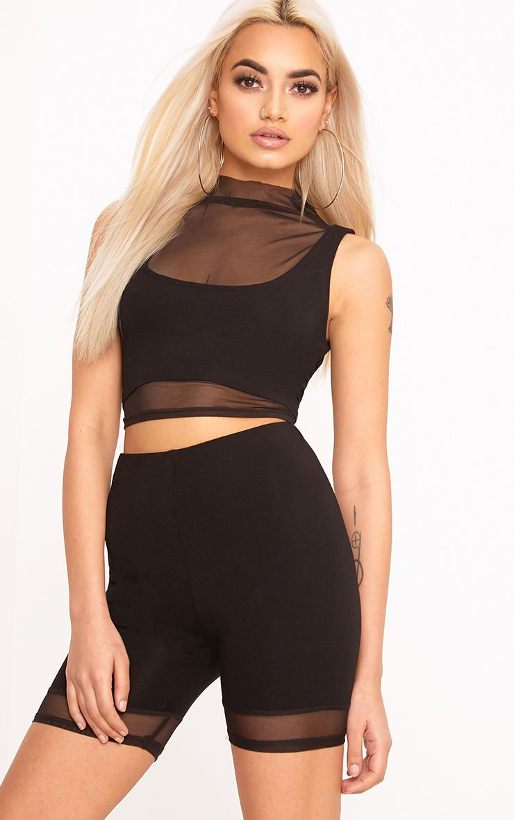 Cicley Black Mesh Jersey Crop Top