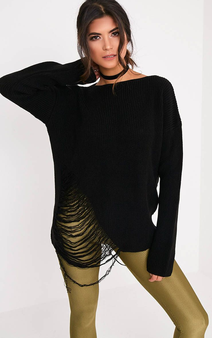 Aislinn Black Ladder Distress OverSized Jumper