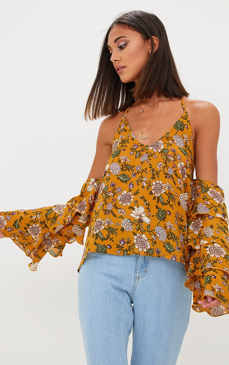 Mustard Ditsy Floral Ruffle Sleeve Halterneck Blouse