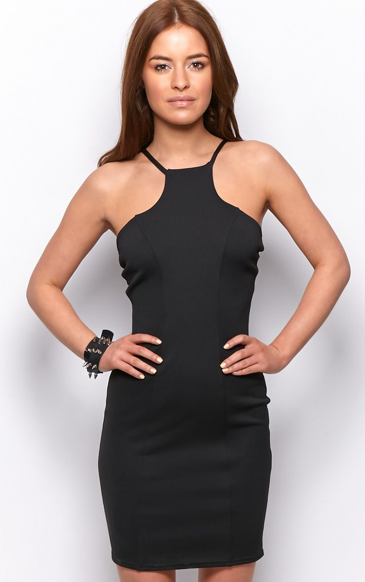 Rylee Black High Neck Panel Dress  1