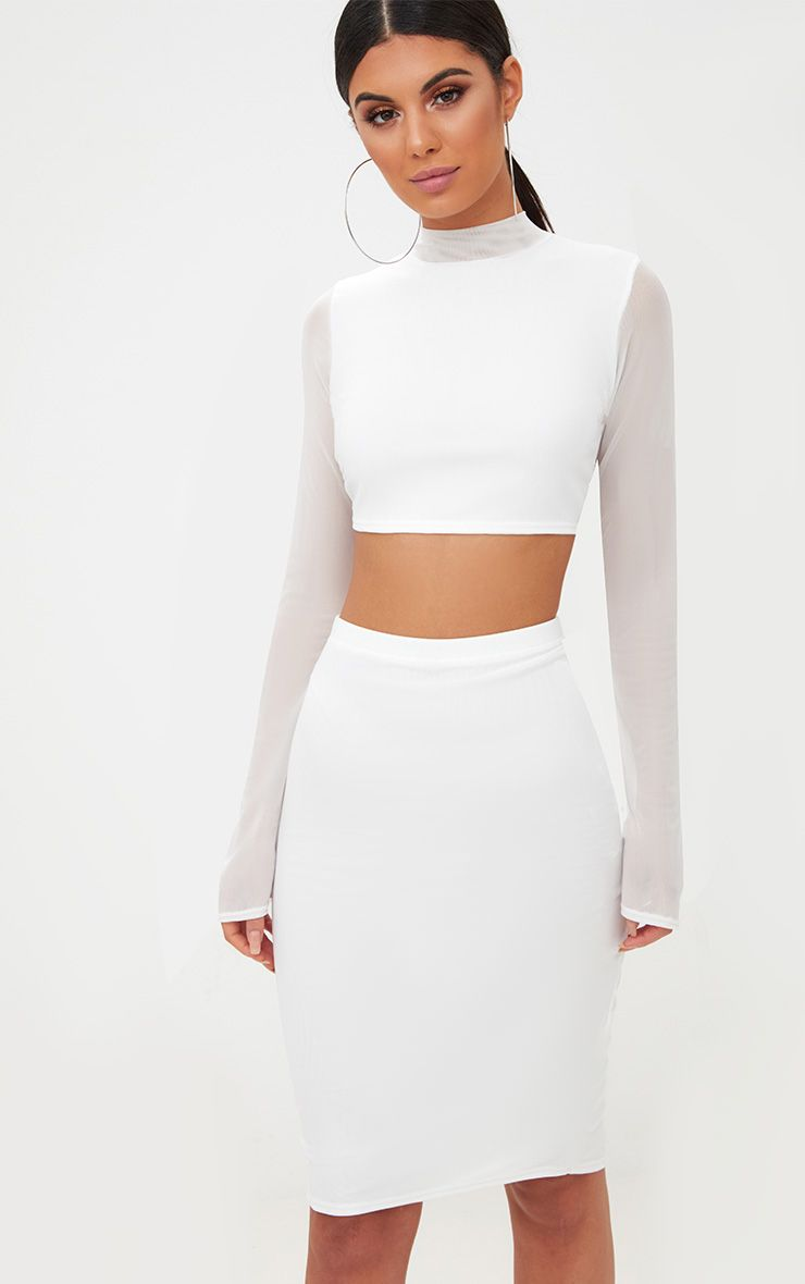 White Mesh Midi Skirt