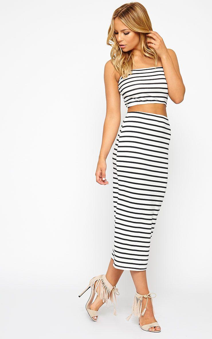 Kyllie Striped Midi Skirt 1