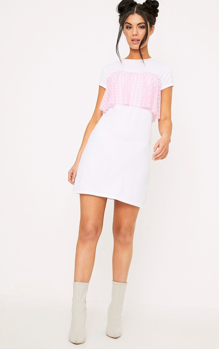 Gingham Pink Mesh Frill T Shirt Dress