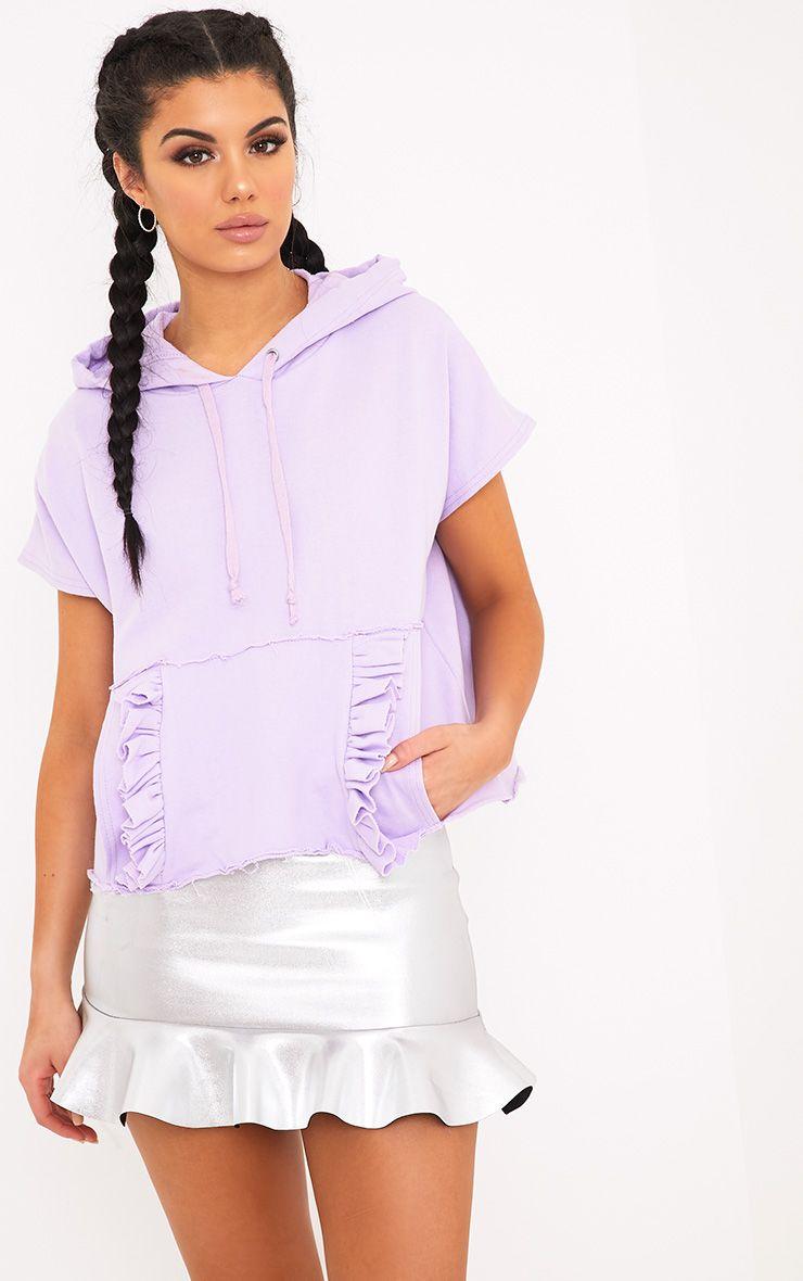 Dorla Pastel Lilac Ruffle Pocket Boxy Hoodie