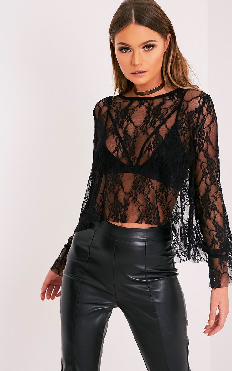 Poppi Black Lace Peplum Sleeve Blouse