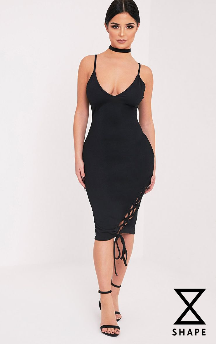 Shape Hollie Black Lace up Side Midi Dress