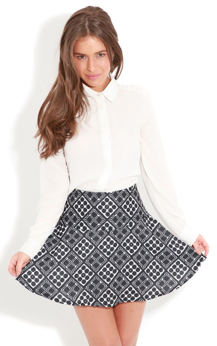 Gabby Mono Graphic Print Drop Waist Skater Skirt  1