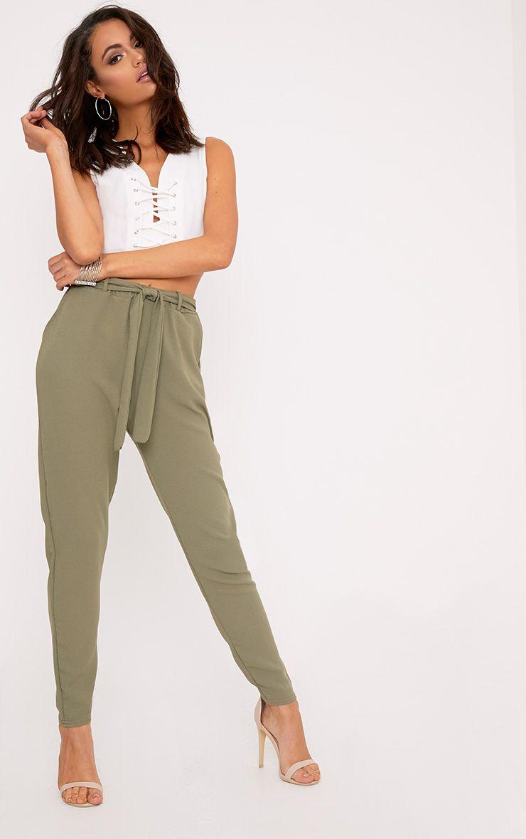Sachia Khaki Tie Waist Peg Trousers  1
