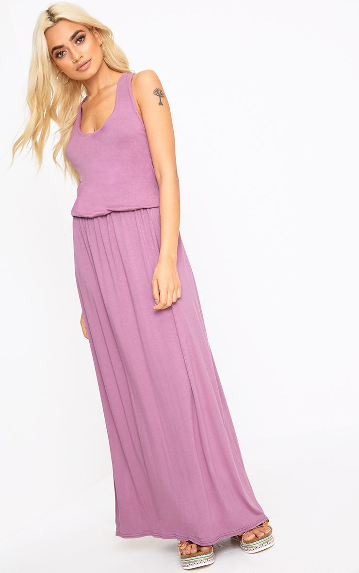 Mauve Bagged Over Maxi Dress