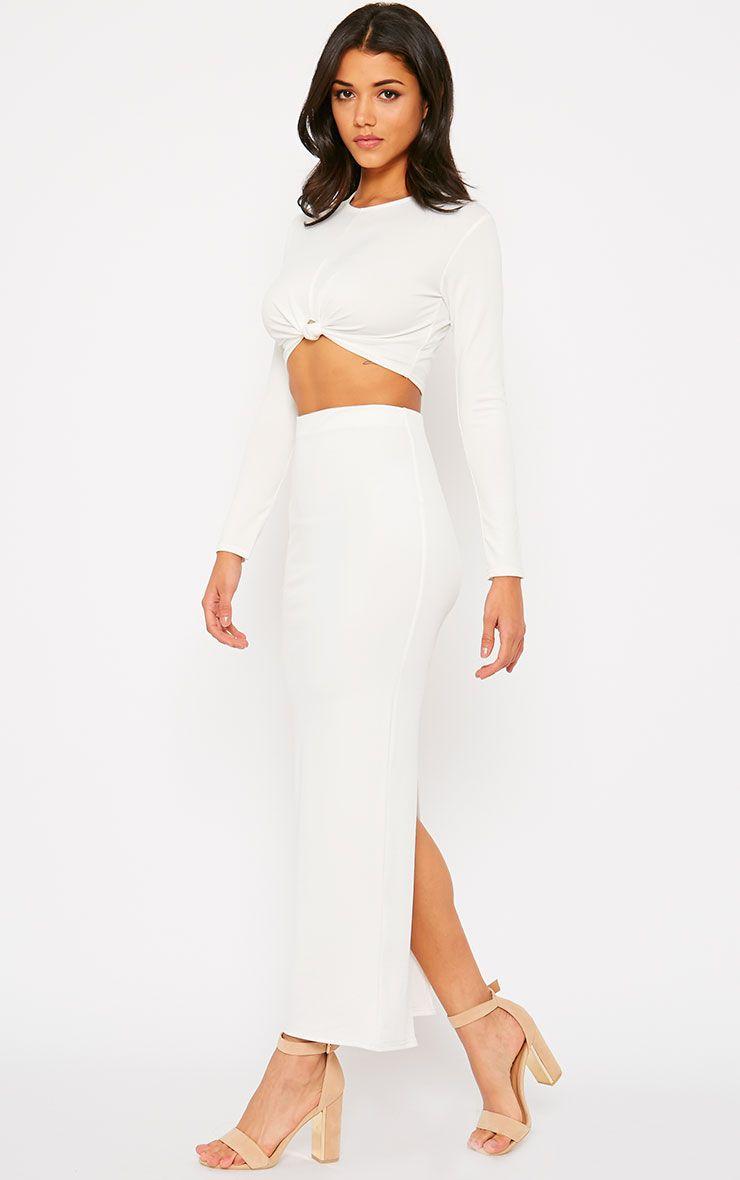 Zafia Cream Crepe Split Maxi Skirt 1