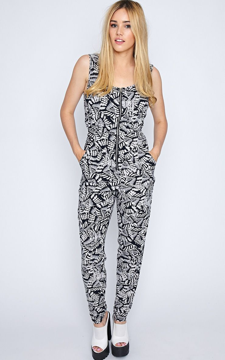 Isa Black And White Aztec Jumpsuit  1