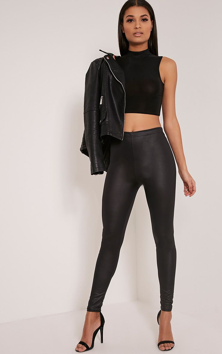 Savannah Black PU Leggings