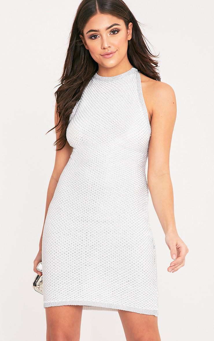 Peony Metallic White Knitted Mini Halter Dress